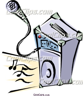 Microphone with amplifier Clip Art.