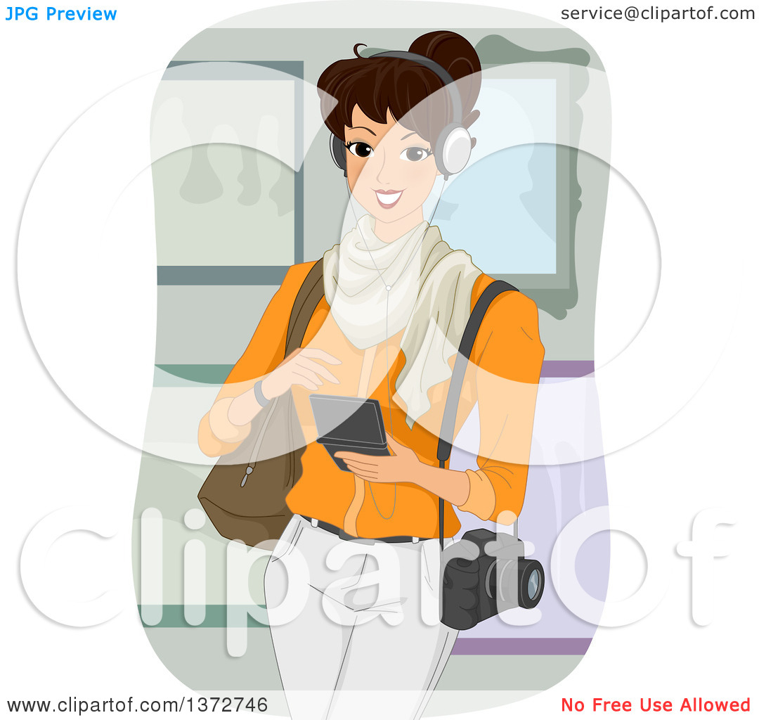 Clipart of a Happy Brunette White Woman Listening to a Museum.