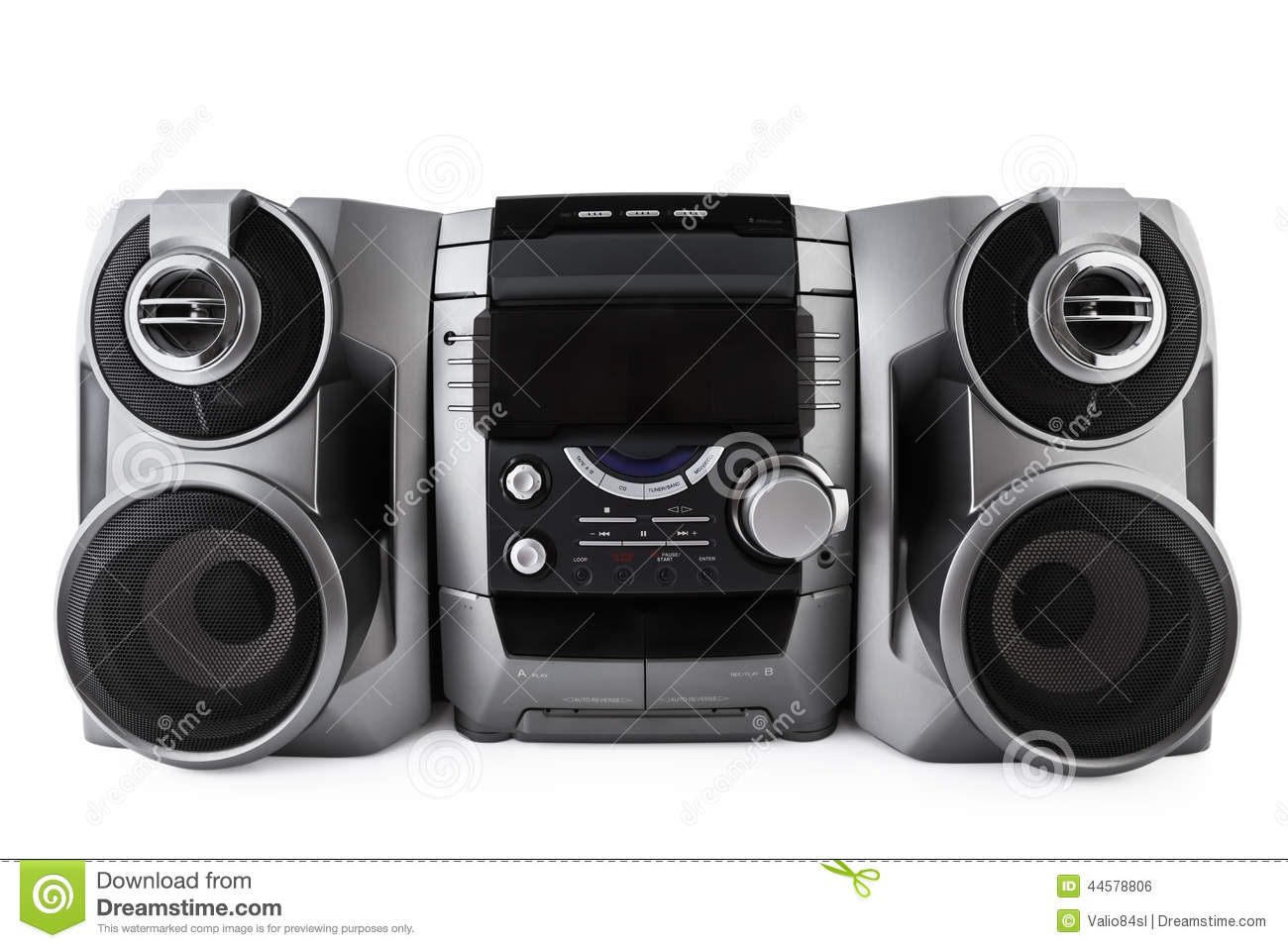 Compact Stereo System Cd And Cassette Player Isolated With Clipp.