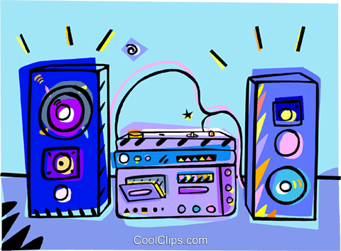stereo system, home audio Royalty Free Vector Clip Art.
