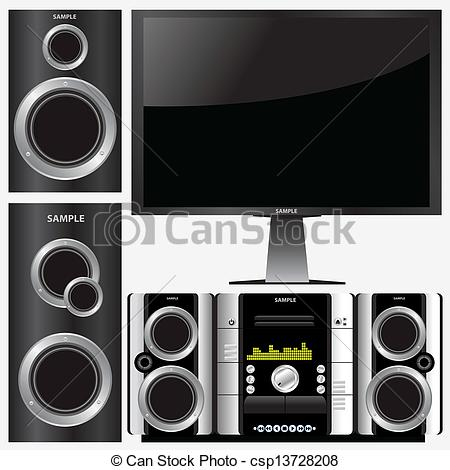 Vector Clipart of surround stereo system.