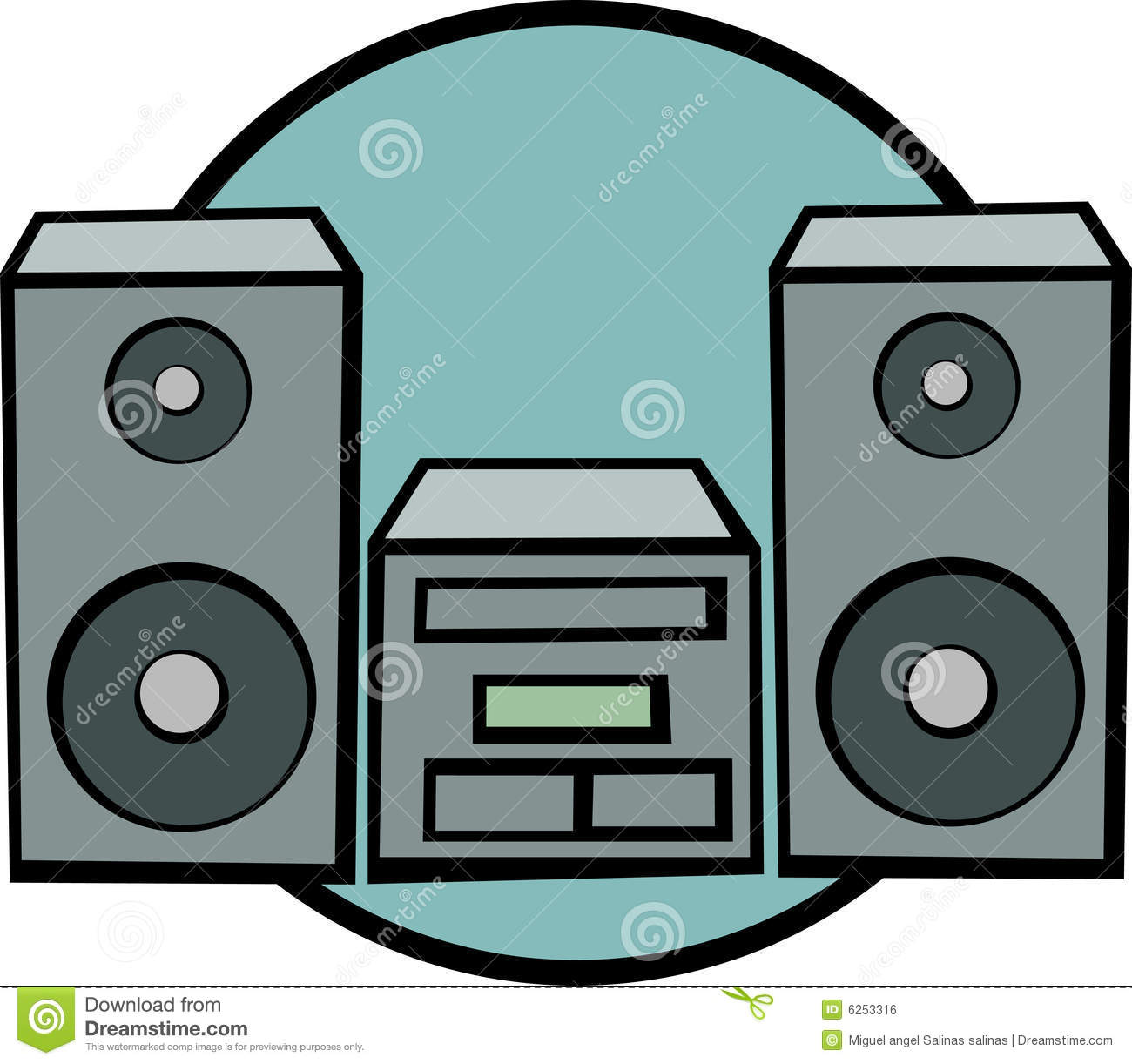 Stereo Music System Vector Illustration Royalty Free Stock Image.