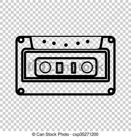 Cassette icon, audio tape sign.
