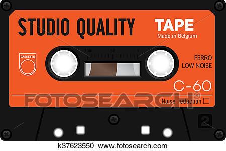 Vintage audio cassette tape Clipart.
