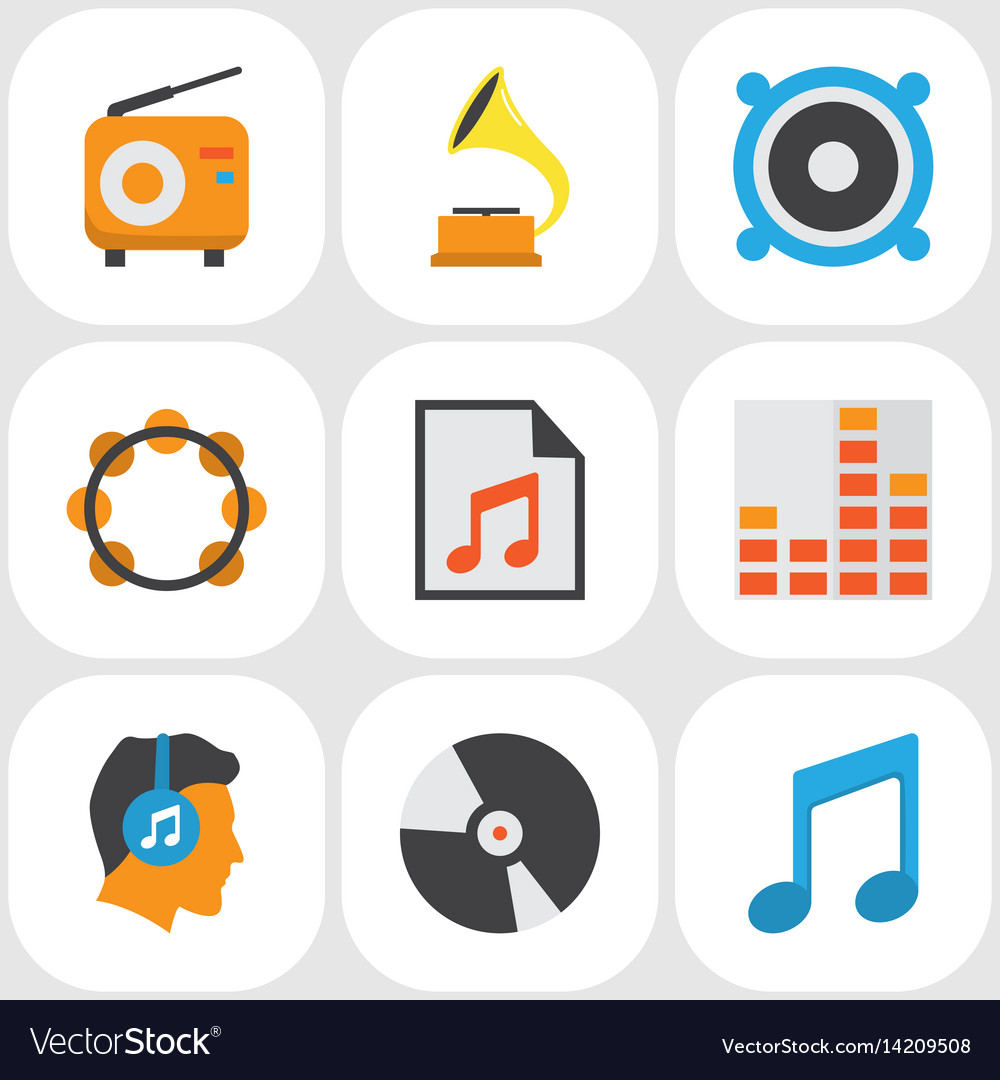 Audio flat icons set collection of male media.