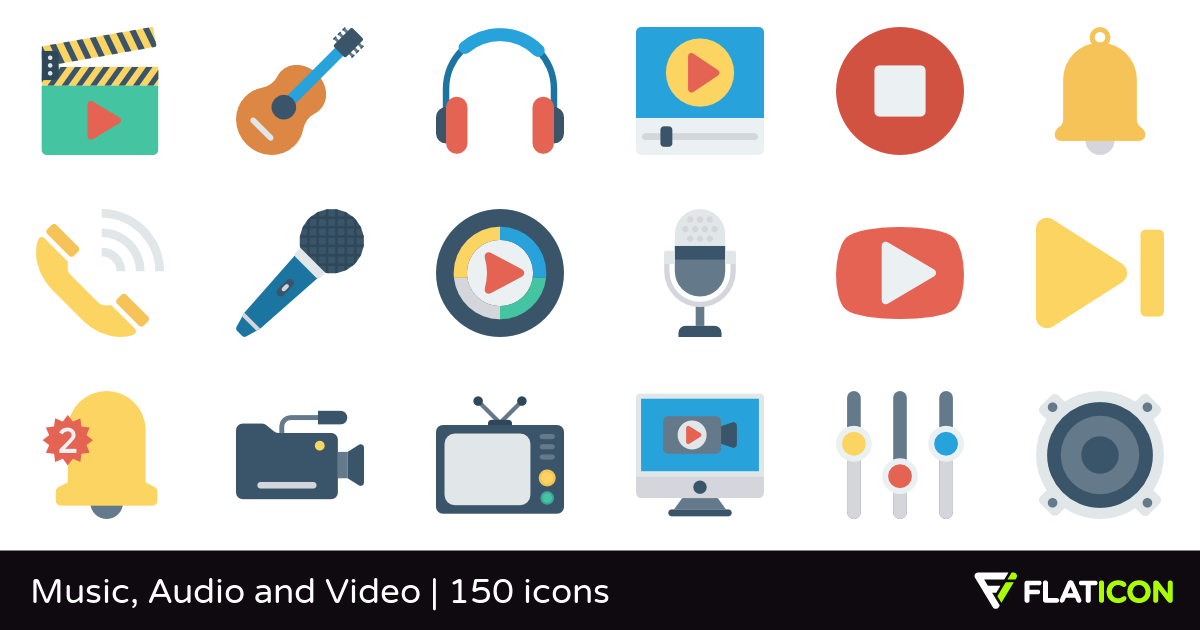Music, Audio and Video 150 free icons (SVG, EPS, PSD, PNG files).
