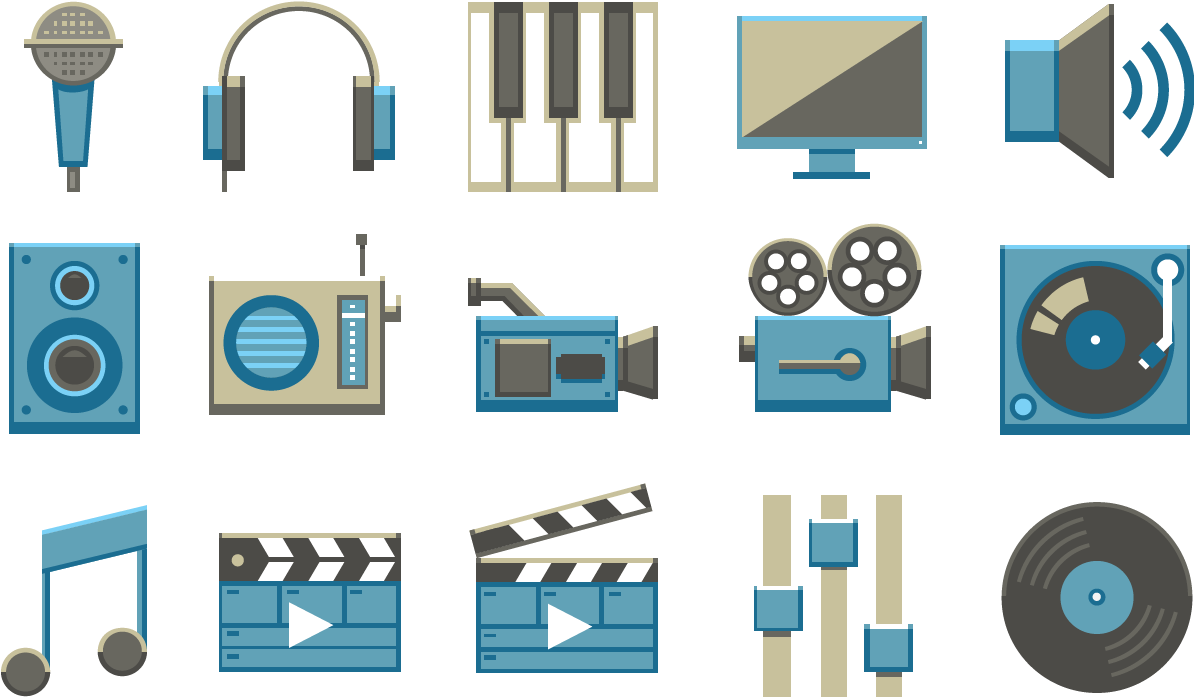 HD Audio Video Symbols Icons.