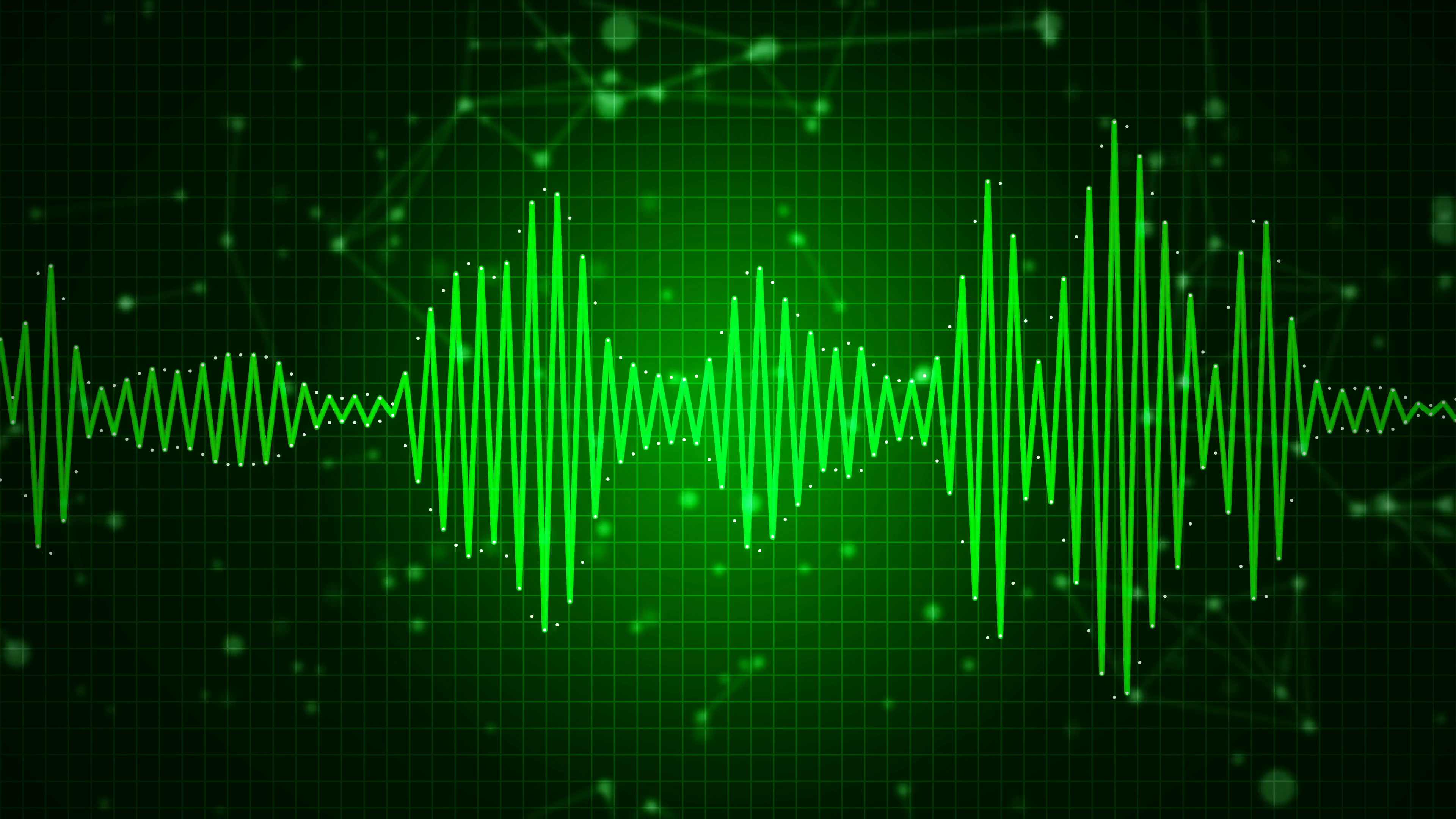 Animated audio sound waveform spectrum, sound waves on green.