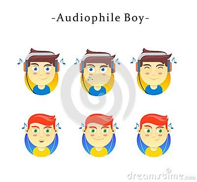 Audiophile Boy Stock Vector.