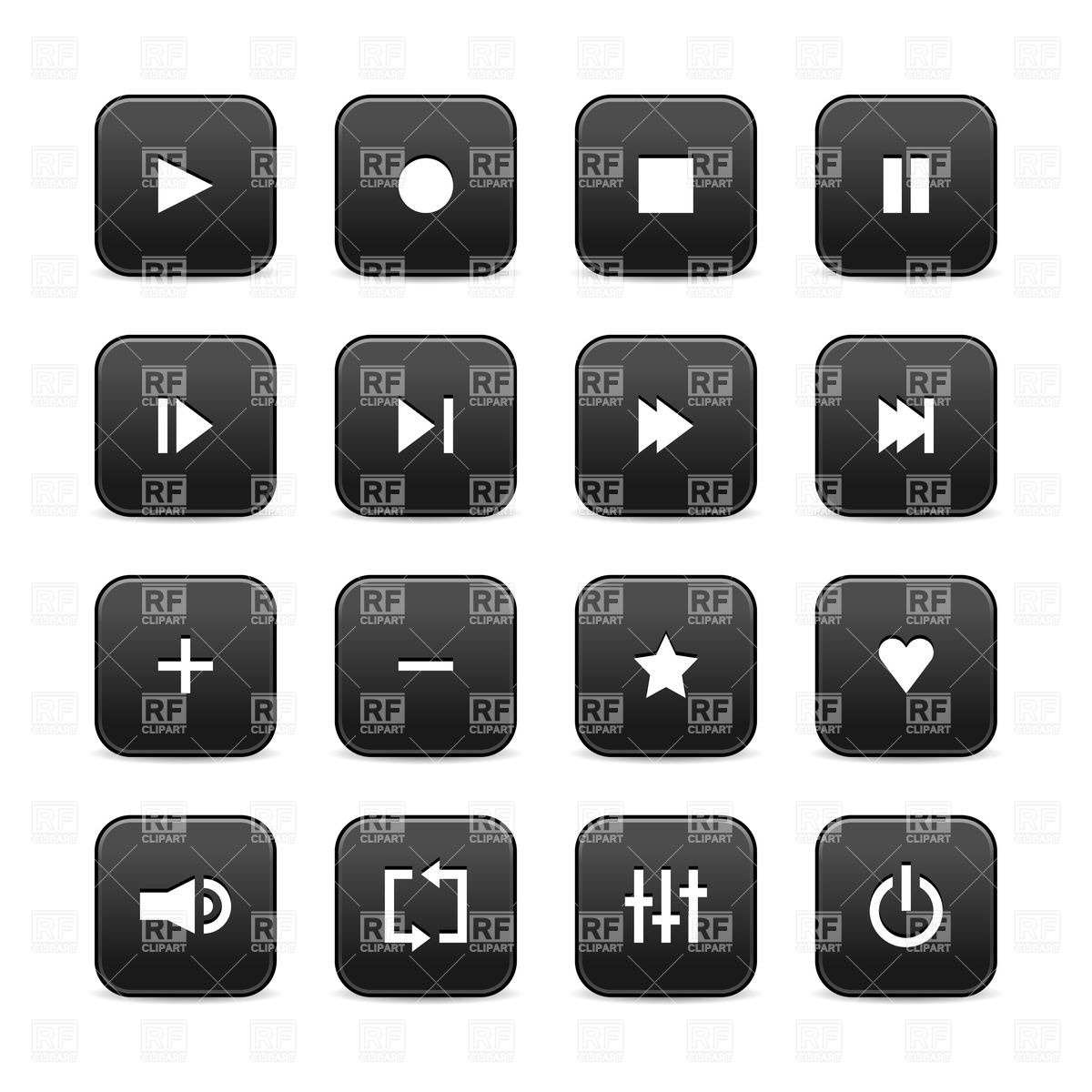 Audio player simple interface icons Vector Image #13527.