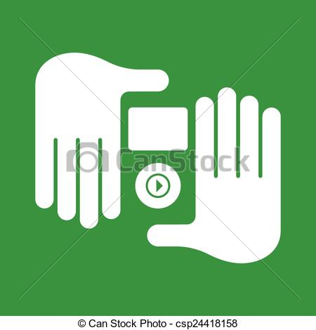 Clipart Vector of hand audio player.