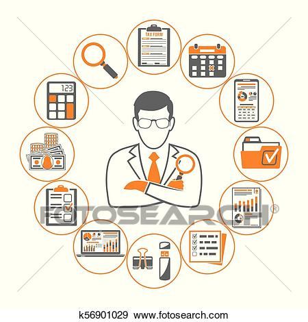Auditing, Tax, Accounting Infographics Clip Art.
