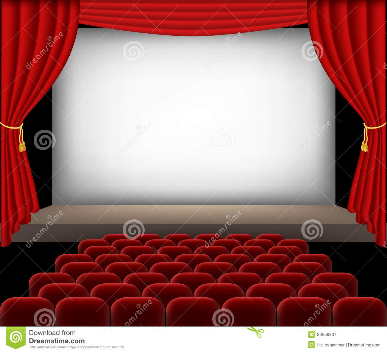 Cinema Auditorium With Red Seats And Curtains Royalty Free Stock.