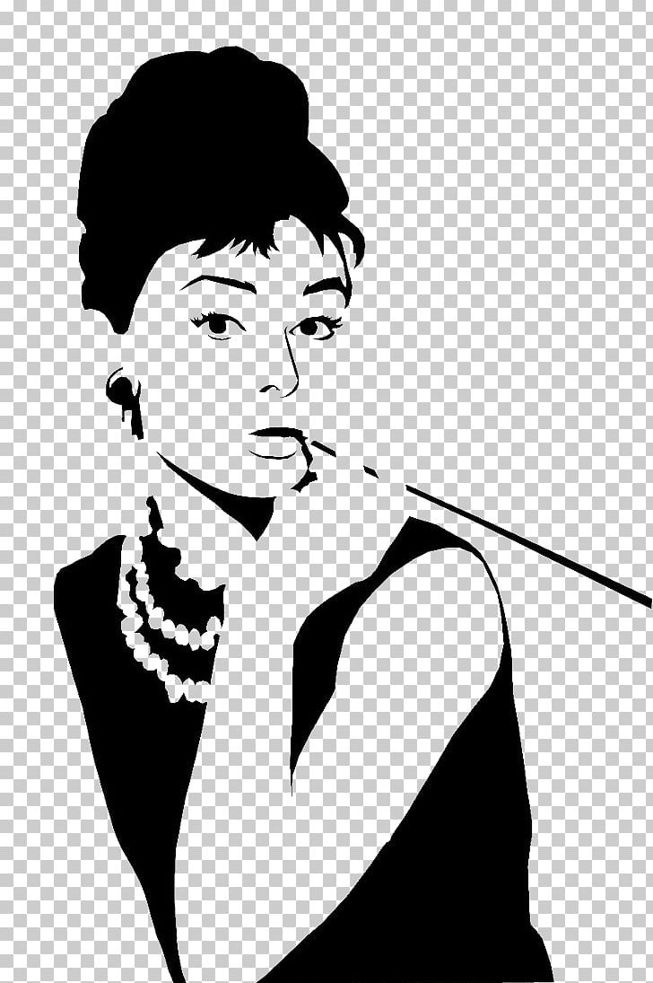 Audrey Hepburn Stencil Breakfast At Tiffany\'s Gigi Wall.