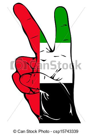 Drawings of Peace Sign of the UAE flag csp15743339.