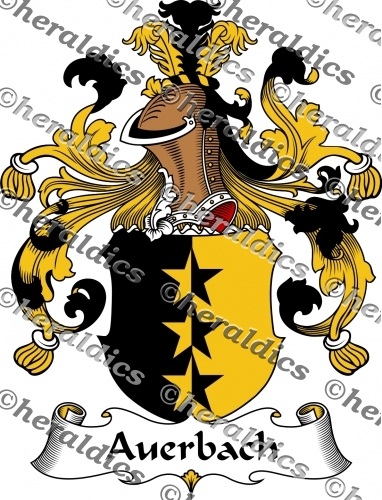 Auerbach Coat of Arms Auerbach Family Crest Instant Download.