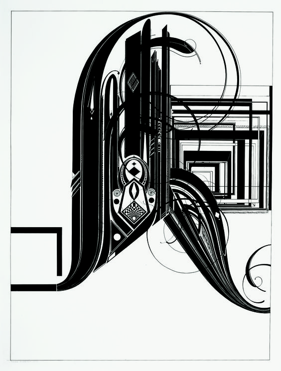 """R"""" by Tauba Auerbach. Ink on paper 2005.."""