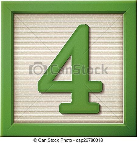 Vektor Clip Art von 3D, grün, 4, Block, zahl.