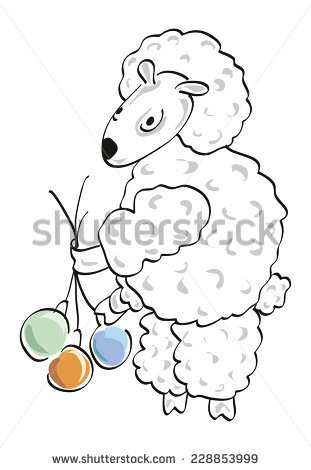 Funny Woolly Cartoon Sheep Standing On Stock.