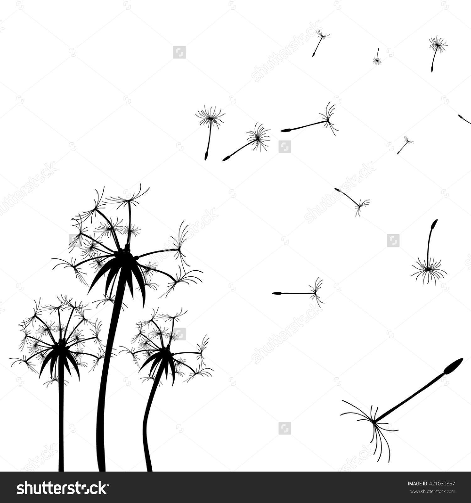 Vector Dandelion Silhouette Flying Dandelion Buds Stock.
