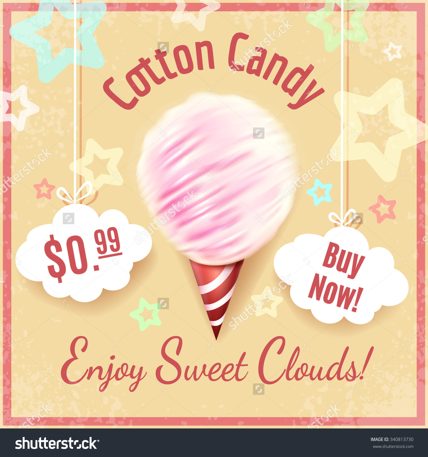 Cotton Candy Vector Poster Background Lettering Stock.