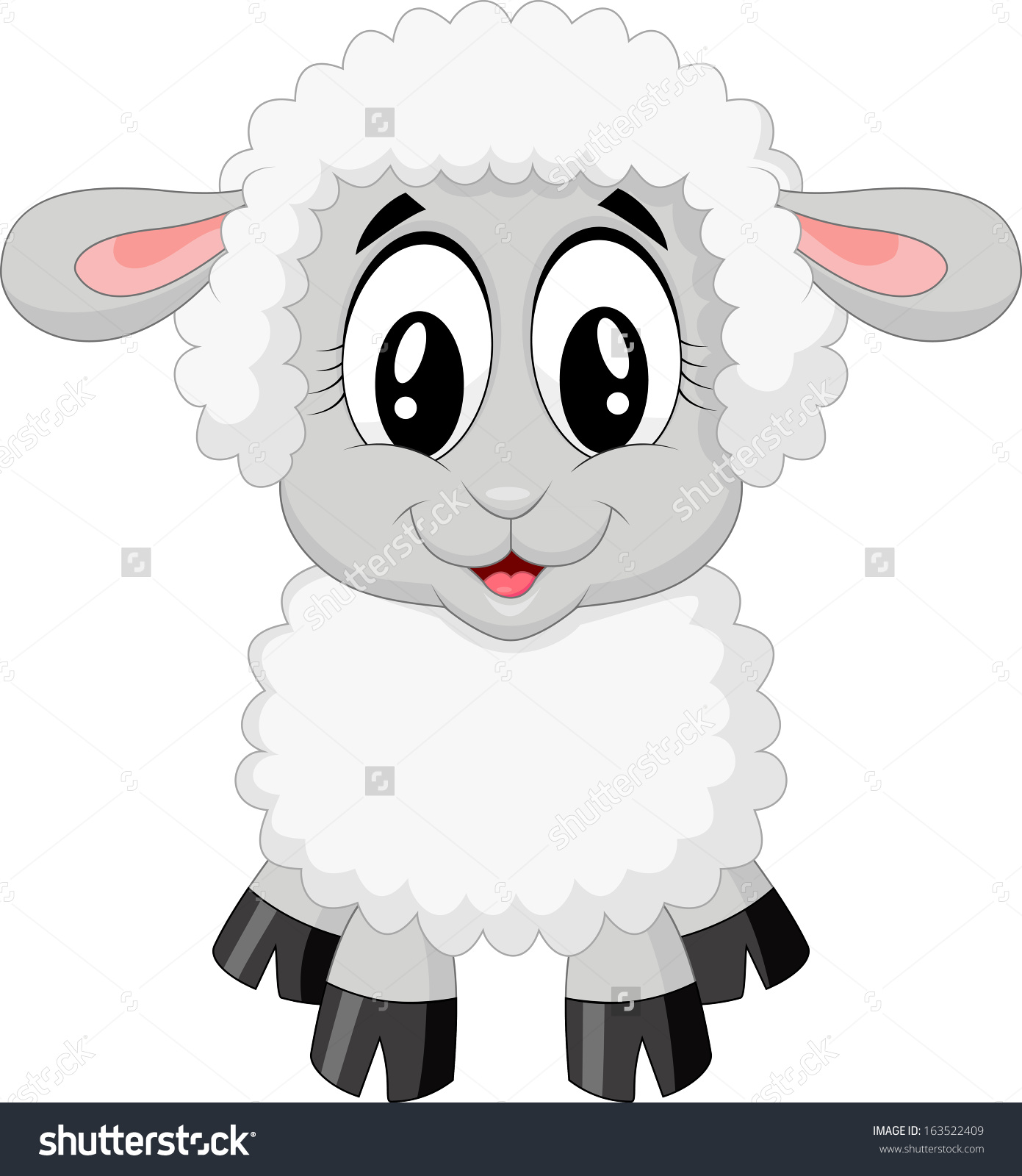 Cute Sheep Cartoon Stock.
