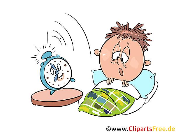 Aufwachen, Aufstehen, Wecker, Schule Clipart, Illustration.