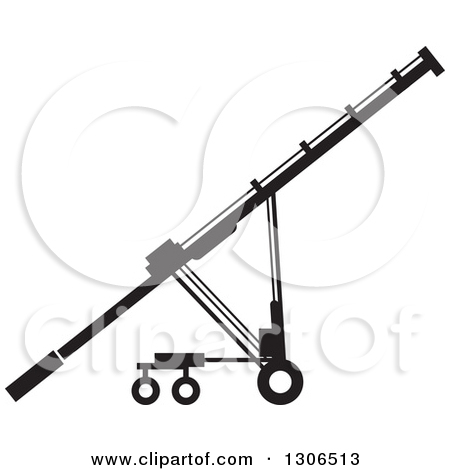 Clipart of a Black and White Grain Auger Machine.