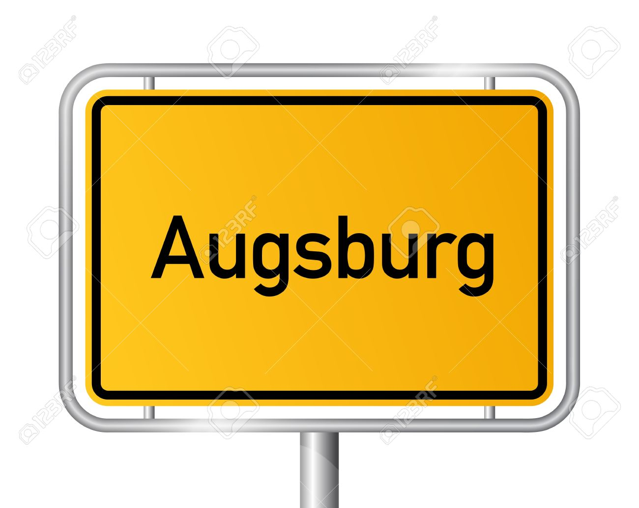 City Limit Sign Augsburg Against White Background.