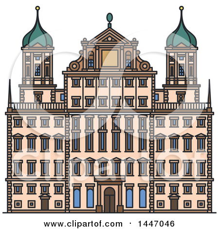 Clipart of a Line Drawing Styled Italian Landmark, Castel Nuovo.