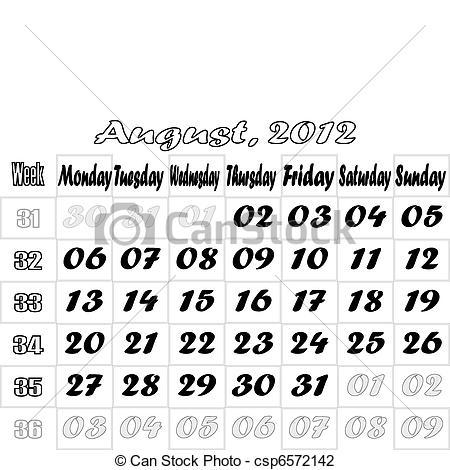 Vector Illustration of August 2012 monthly calendar v.2.