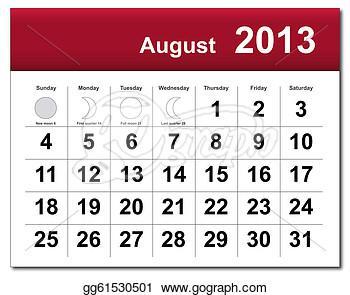 August 2012 calendar clipart.