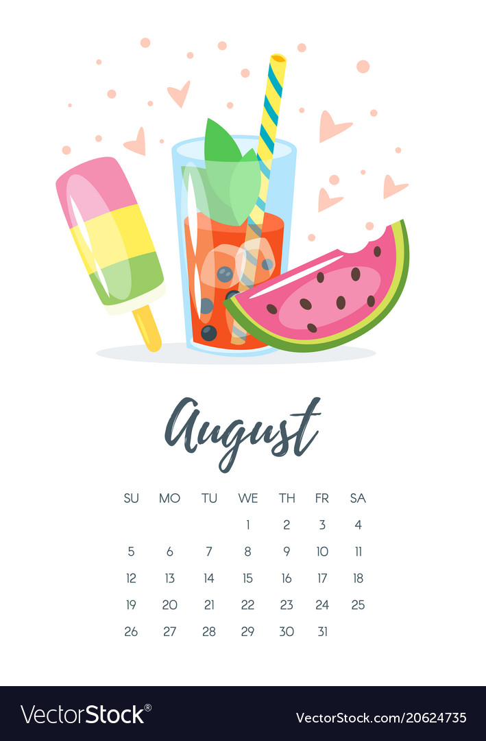August 2018 year calendar page.