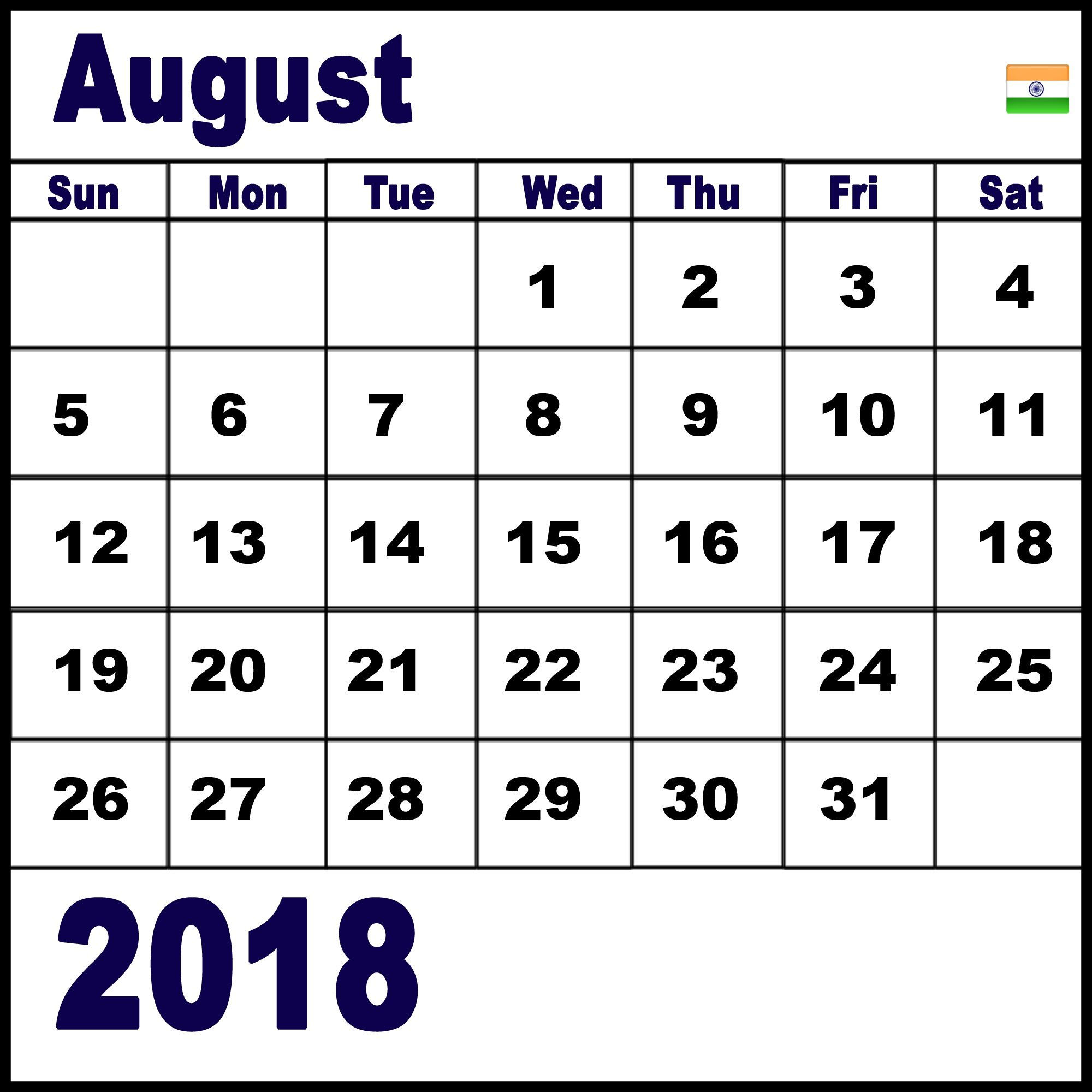 August 2018 Indian Calendar with Holidays.