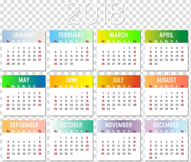 2018 Calendars transparent background PNG cliparts free.