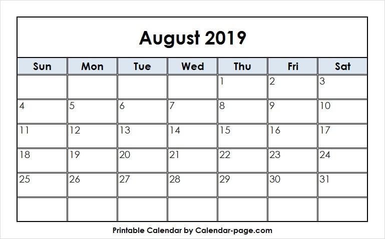 August 2019 Calendar Print.