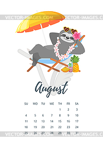 August 2019 year calendar page.