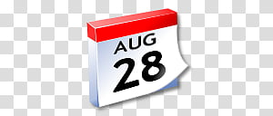 WinXP ICal, white and red August calendar transparent.