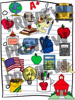 Schoolhouse Clipart Set.
