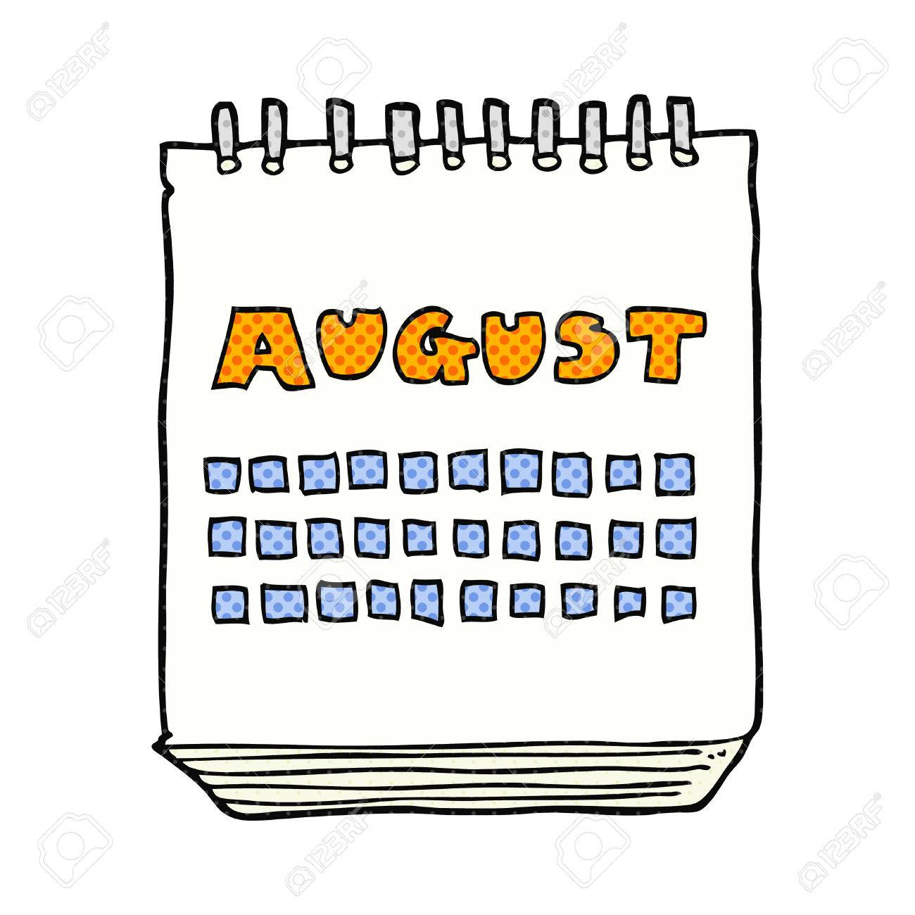 freehand drawn cartoon calendar showing month of august.