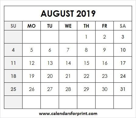 August 2019 Calendar Clipart Free.