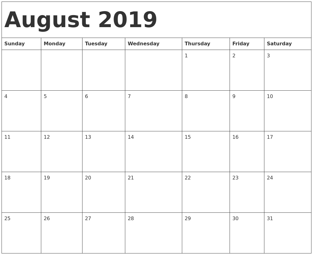 Get Clip Art Calendar August 2019 ⋆ The Best Printable Calendar.