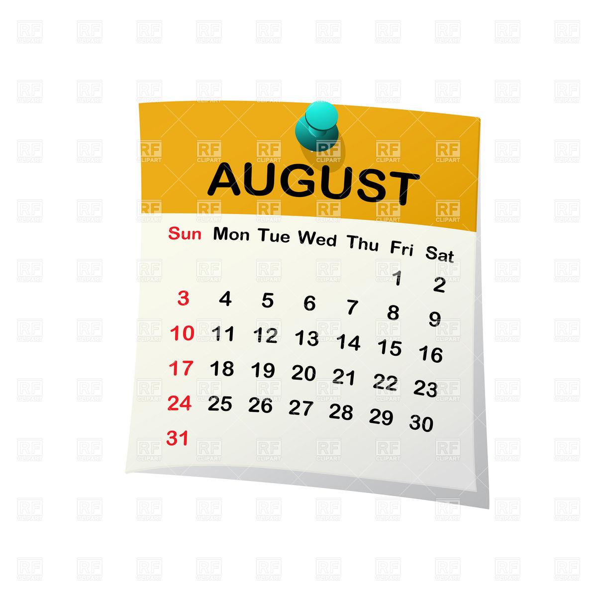 August 2014 month calendar Stock Vector Image.