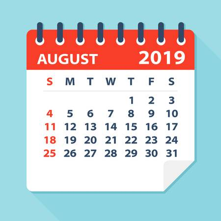 August 2019 Calendar Leaf.