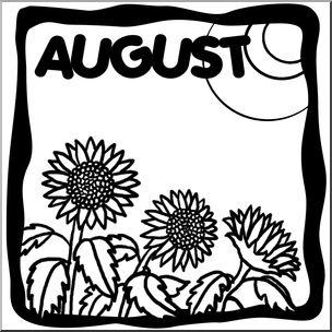 Clip Art: Month Graphic: August B&W I abcteach.com.