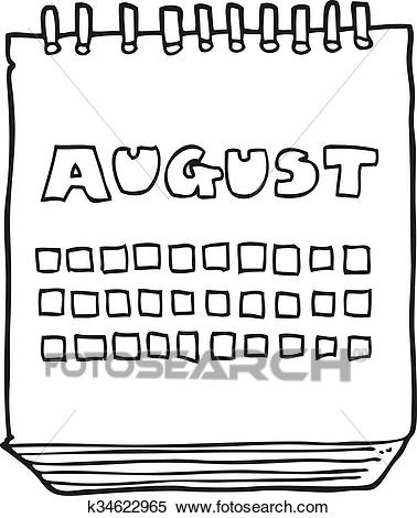 Black and white cartoon calendar showing month of august Clipart.