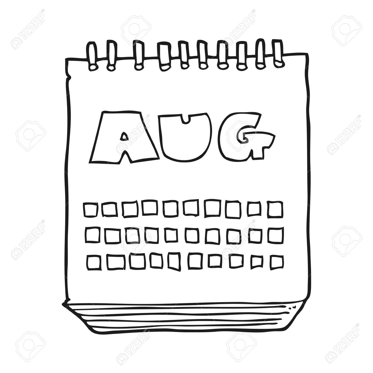 freehand drawn black and white cartoon calendar showing month...