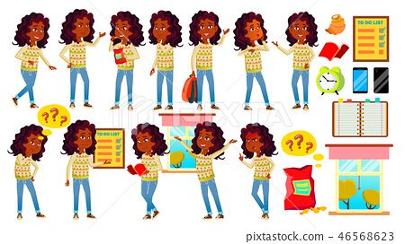 Indian Girl Kid Poses Set Vector. High School Child. Hindu.