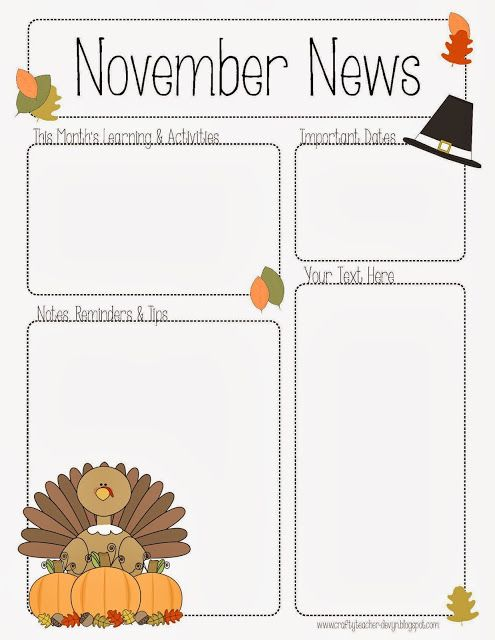 November Newsletter for Preschool, Pre.