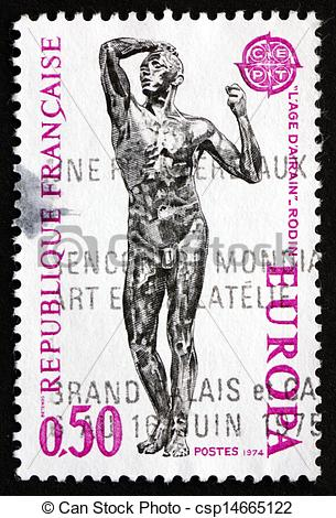 Stock Photo of Postage stamp France 1974 Age of Bronze, Auguste.